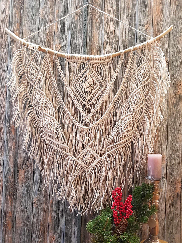 Galadesignboutique macrame curtain wall art plant hanger - Makramee wandbehang ...