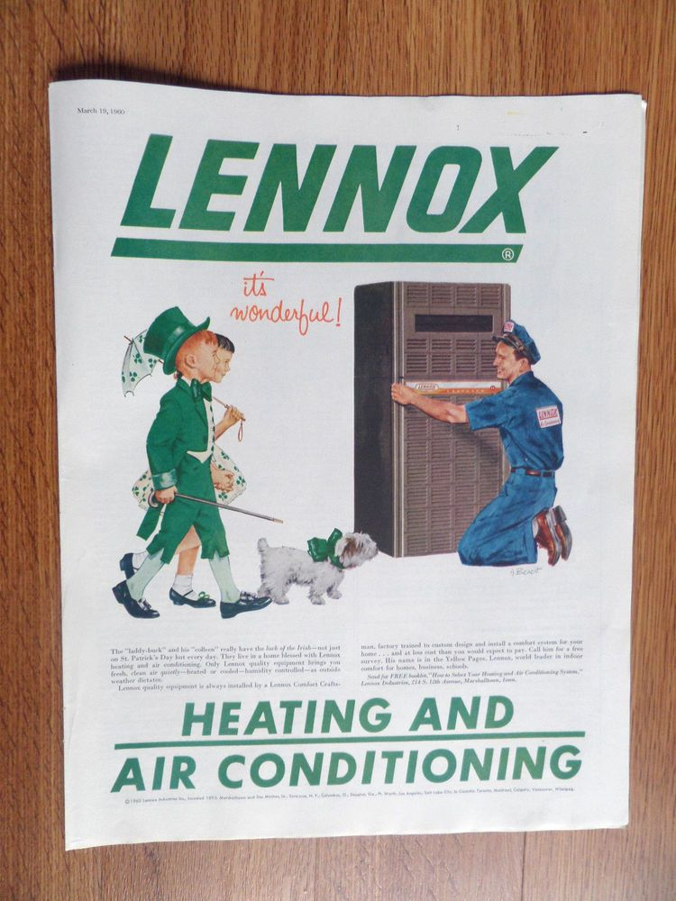 1960 Lennox Ad Heating Air Conditioning Lady Luck St Patrick S