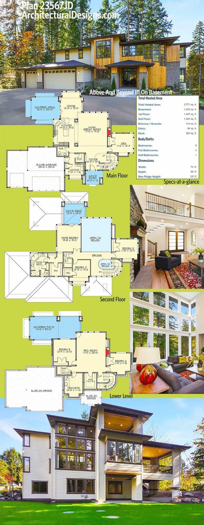 Plan 23567JD Above And Beyond III On Basement Modern house