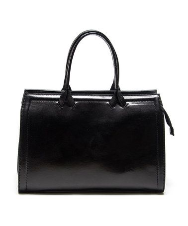 Take a look at this Black Square Leather Handbag by Roberta Minelli on #zulily today!
