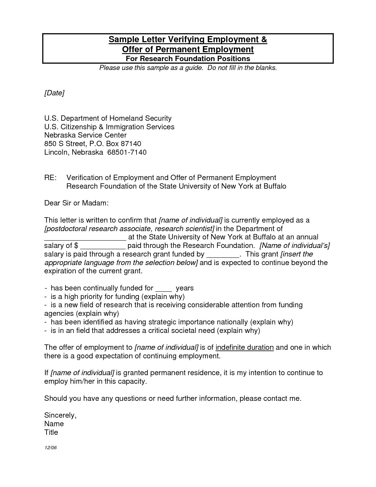 Sample Verification Letter From Employer Letter