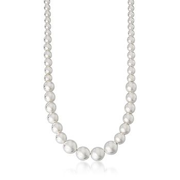 * Must Have*.  Italian Sterling Silver Graduated 4-10mm Bead Necklace