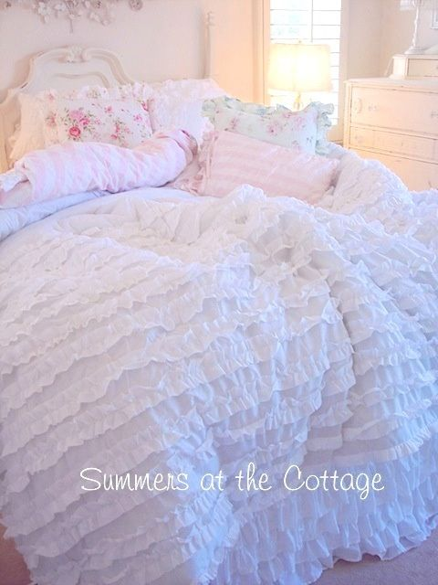 Shabby Cottage Chic Layers Of Dreamy White Ruffles Comforter Set Full Queen Chic Comforter Shabby Chic Bedrooms Shabby Chic Bathroom