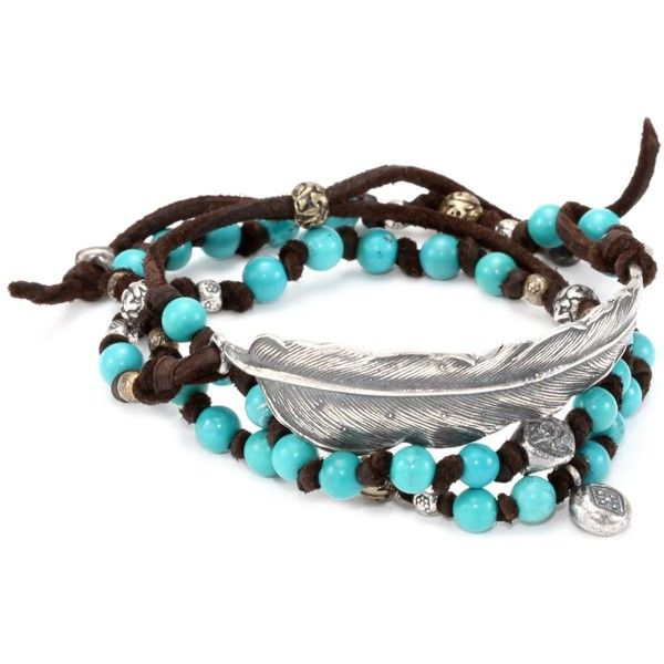 M.Cohen Handmade Designs Triple Wrap Turquoise-Color Beads and Feather on Brown Leather Bracelet found on Polyvore
