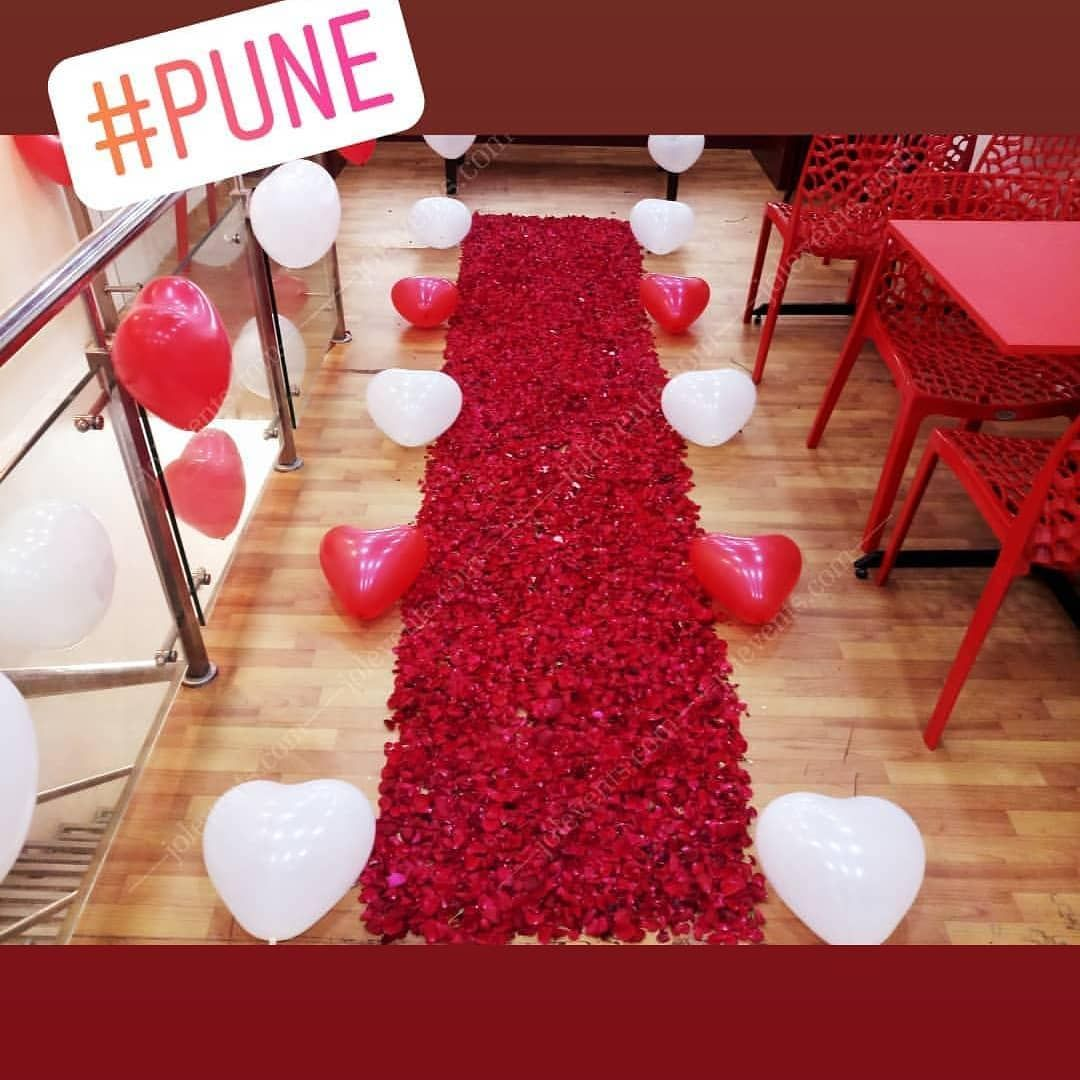 Red Rose Petals Path To Surprise Your Loved One On Birthday Romantic Decoration In Hotel Romantic Decor Birthday Room Surprise Surprise Party Decorations