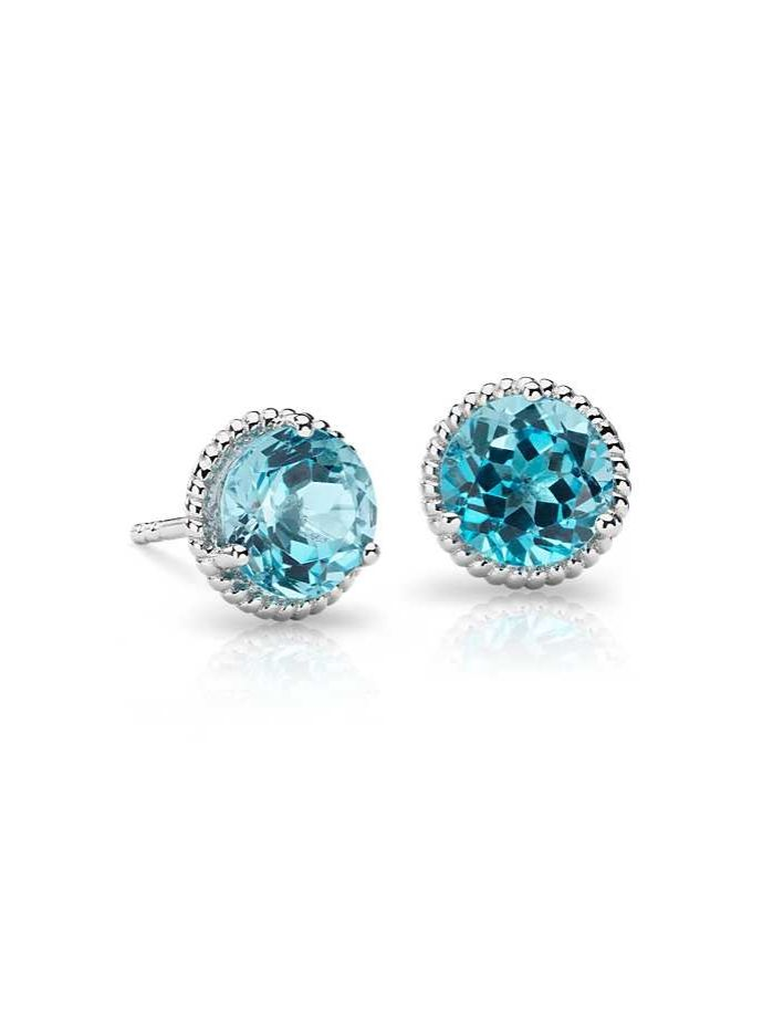 Show off with these blue topaz gemstone earrings, framed in sterling silver and finished off with elegant rope detailing | Under $100
