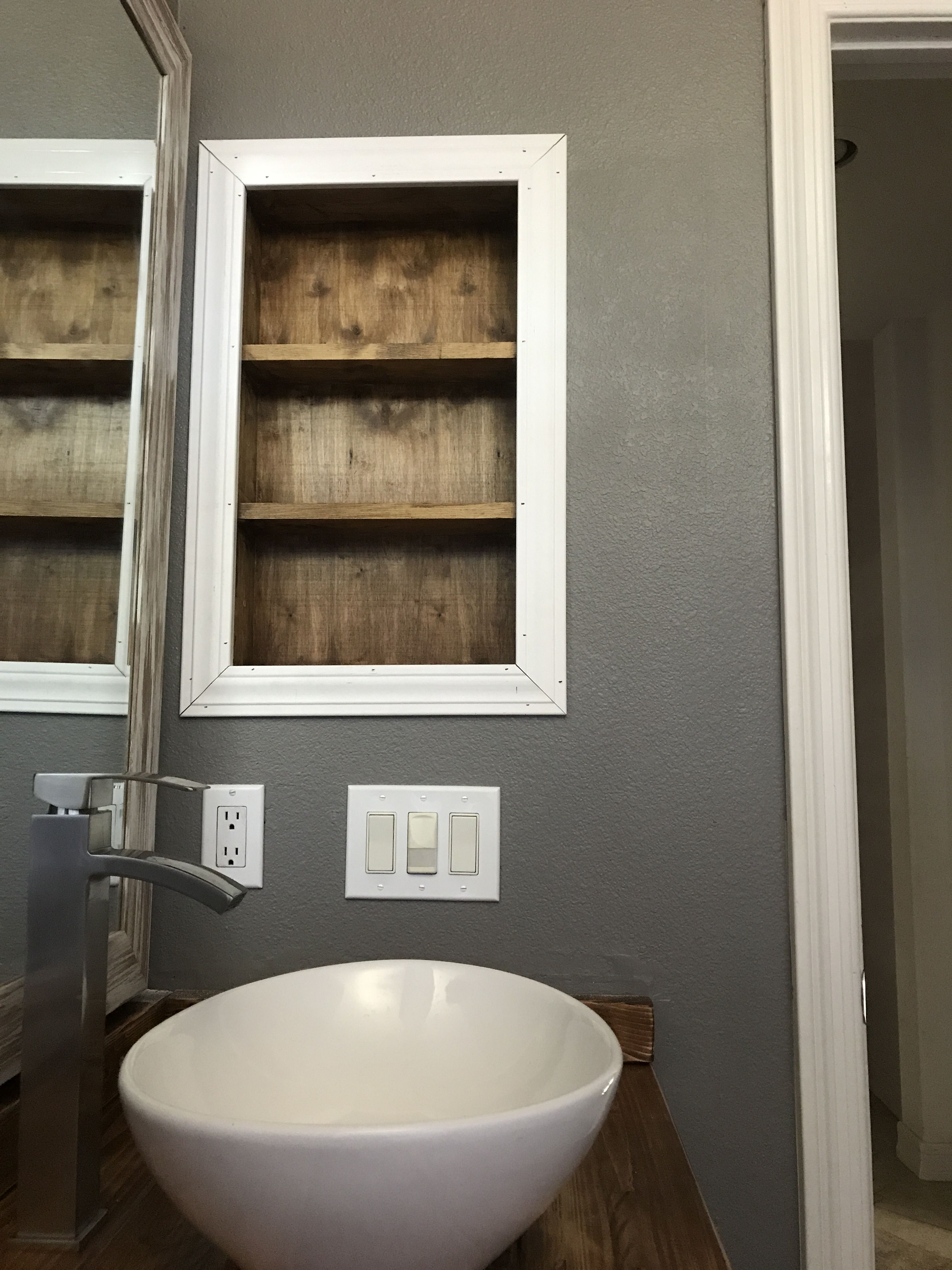 Bathroom Shelf Nook No Medicine Cabinet Remove Medicine Cabinet Bathroom Bathroom Makeover Upstairs Bathrooms Bathroom Decor