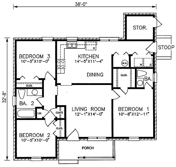1100 Square Feet 3 Bedrooms 1 Batrooms 2 Parking Space On 1 Levels Floor Plan Ranch Style House Plans House Plans Ranch House Plan