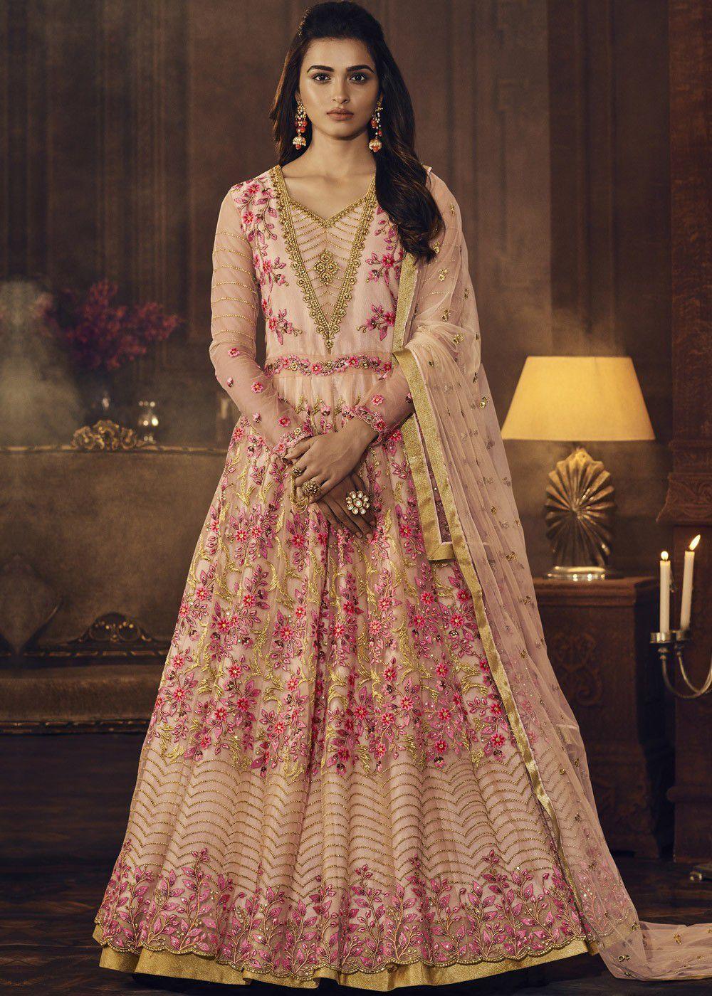 ee15cbaf36 Buy Peach color net wedding wear anarkali suitin UK, USA and Canada ...