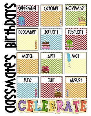 Birthday Chart Freebie To copy Classroom birthday, Birthday
