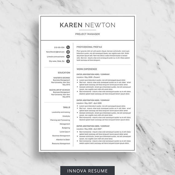 Modern Resume Template For Word  Minimalist Resume Design