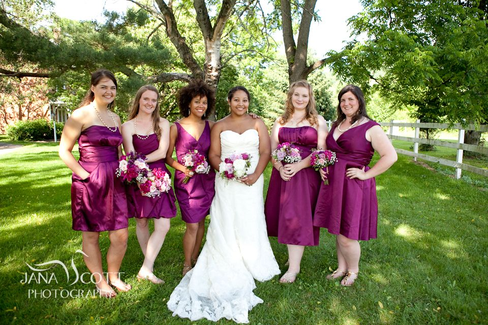 Bridesmaids In David's Bridal Sangria Color From The Desk