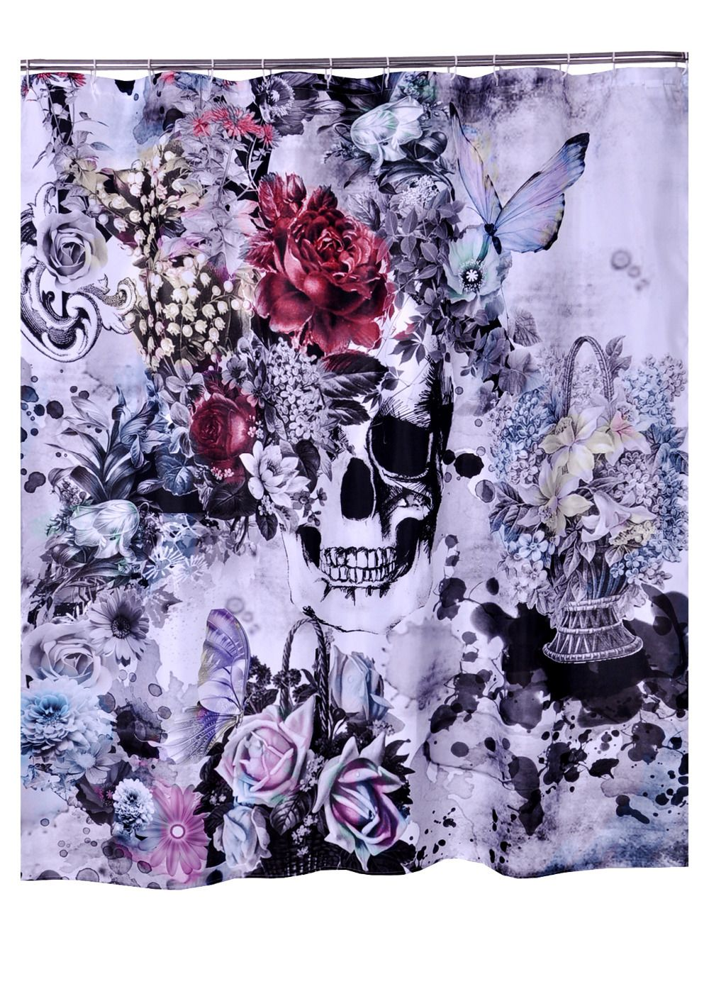 Bathroom Products Polyester Fabric Printed Flower Skull Butterfly ...