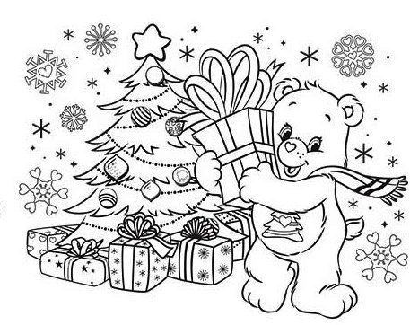 Care Bears On Christmas Day Coloring Sheet Bear Coloring Pages Coloring Pages Christmas Coloring Pages