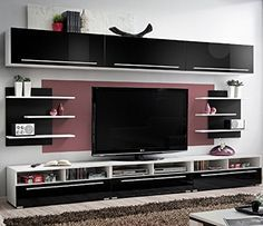 Amazon Com Conte Contemporary Wall Unit Modern Style Tv Stands