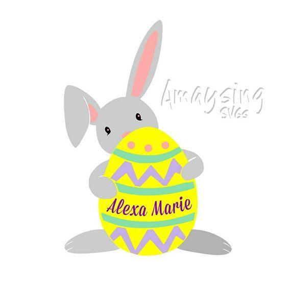 svg easter bunny holding egg svg personalized easter svg easter