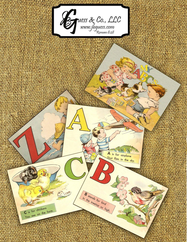 Printable Vintage Alphabet ABC Flash Cards Instant By Jbguess 599