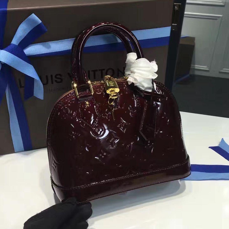 2c558b973643 Louis Vuitton Monogram Vernis Leather Alma BB Bag Amarante M91678 ...
