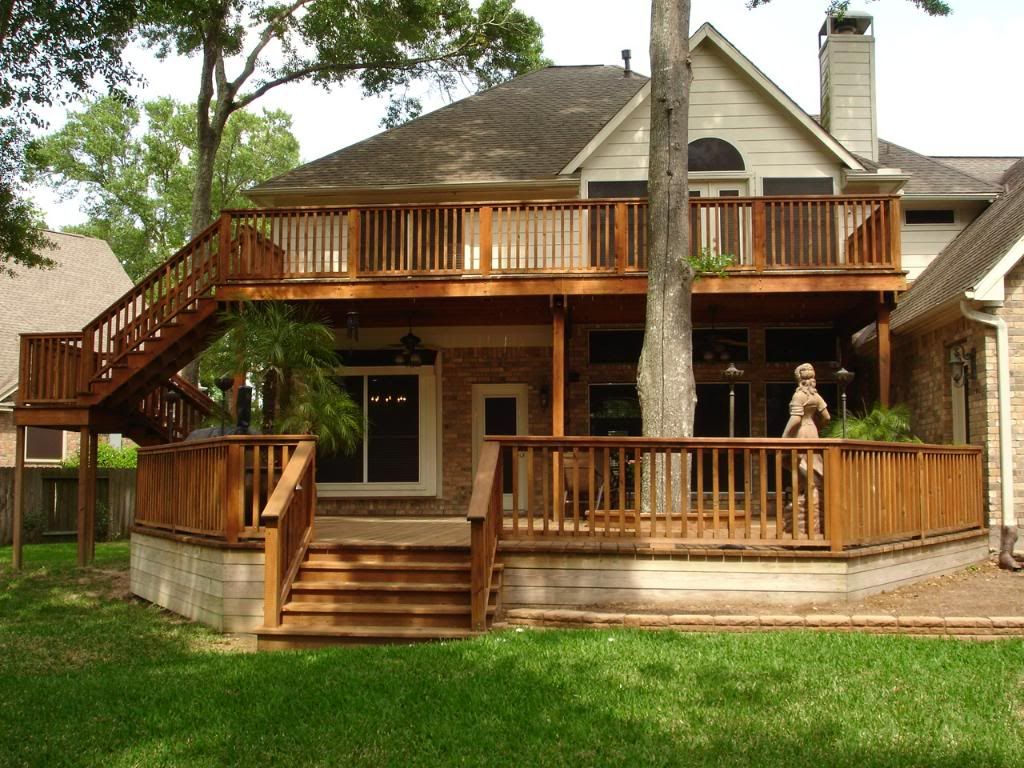 Two story deck photo decks for Deck house designs