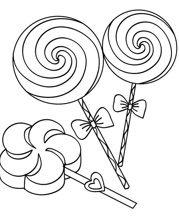 Three Lollipop Candy Coloring Page | Printables | Candy coloring ...