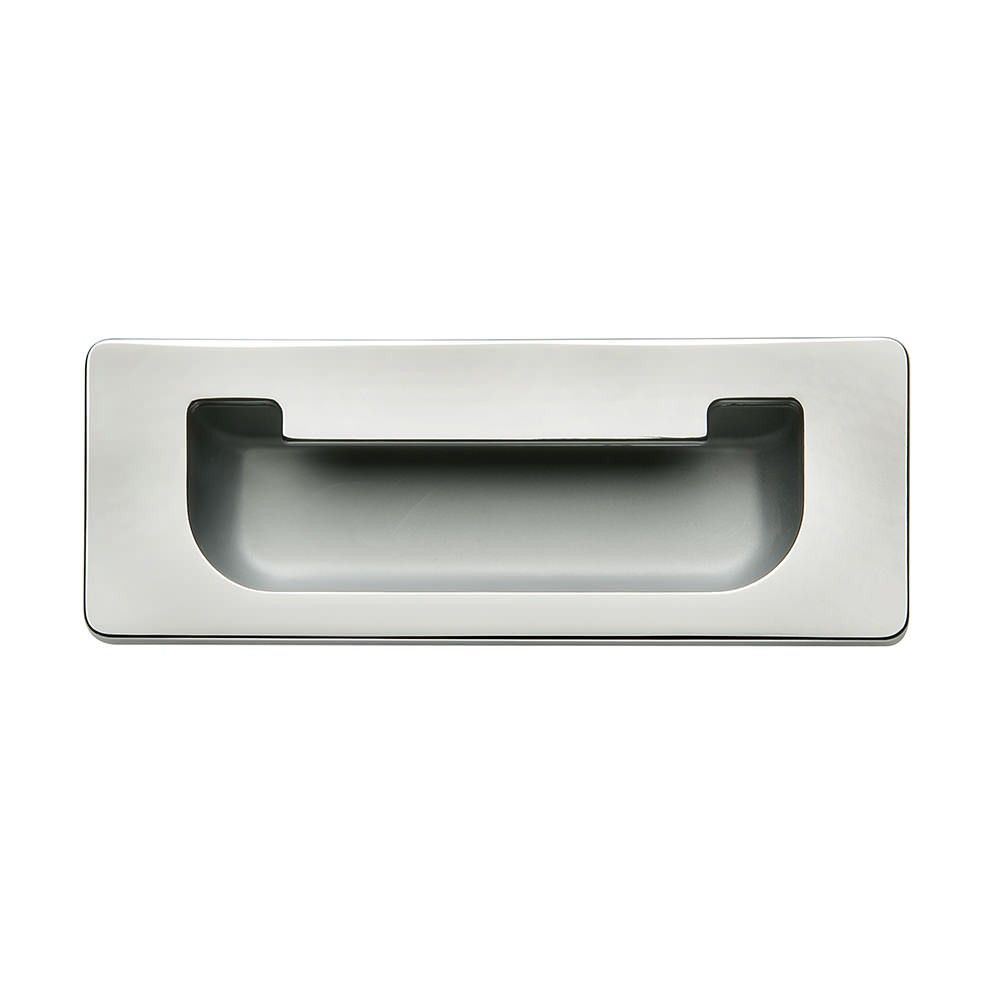 Hafele Inset Flush Cabinet Door Handle 111mm X 41mm Polished