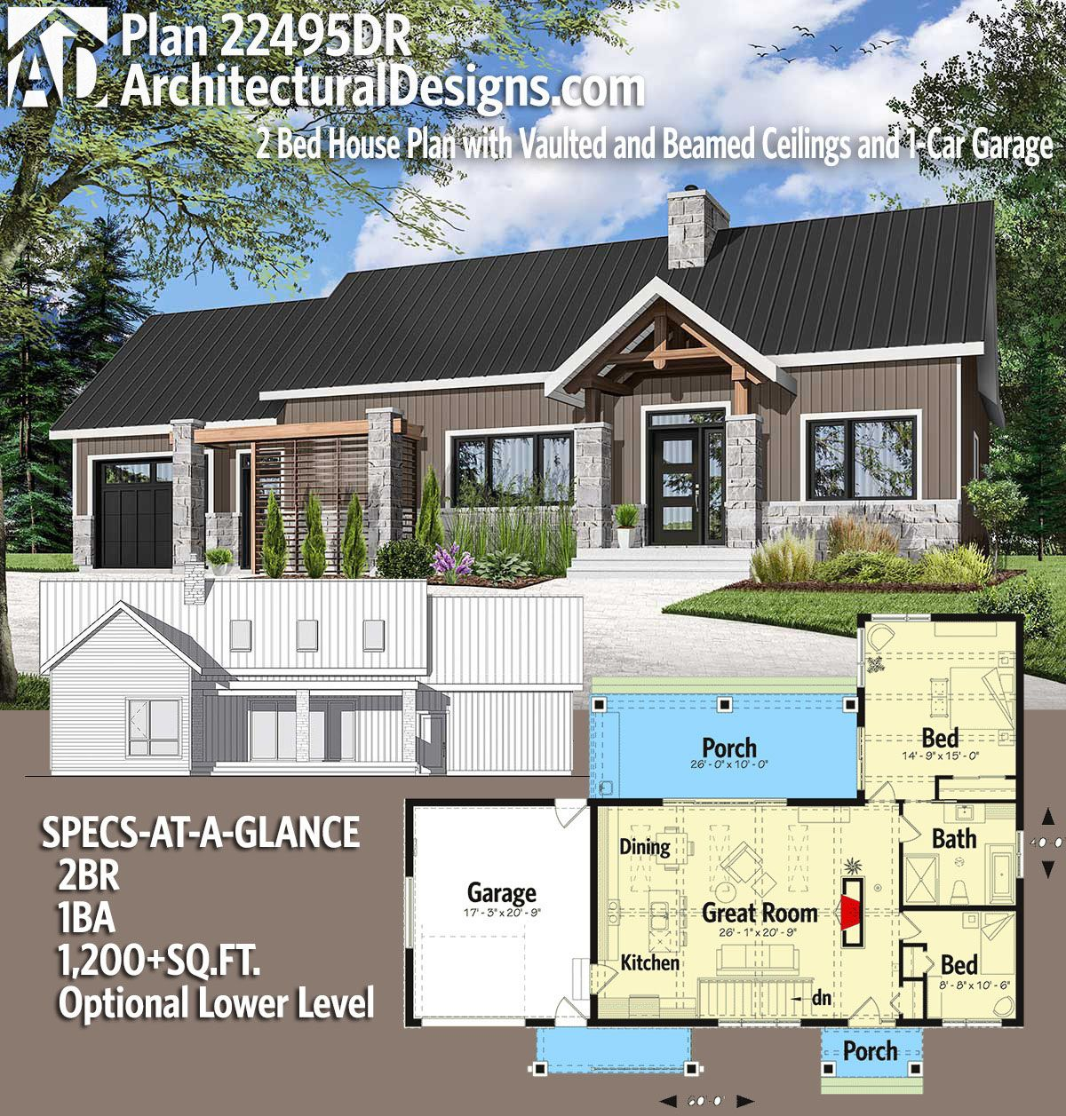 Plan 22495dr 2 Bed House Plan With Vaulted And Beamed Ceilings And 1 Car Garage House Plans House House Blueprints