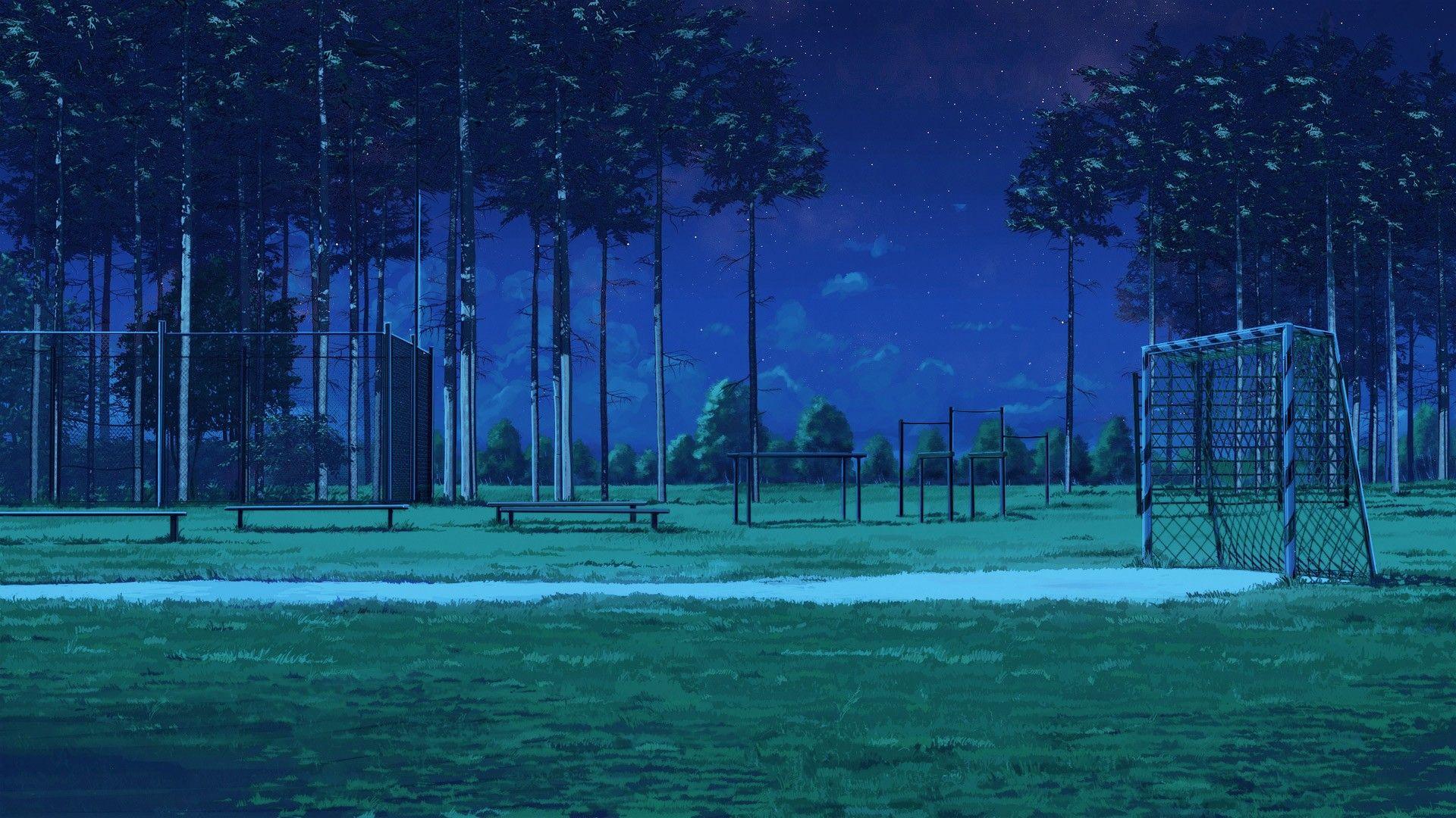 Night Everlasting Summer Soccer Field Arsenixc Bench Wallpaper Anime Scenery Art Anime Background