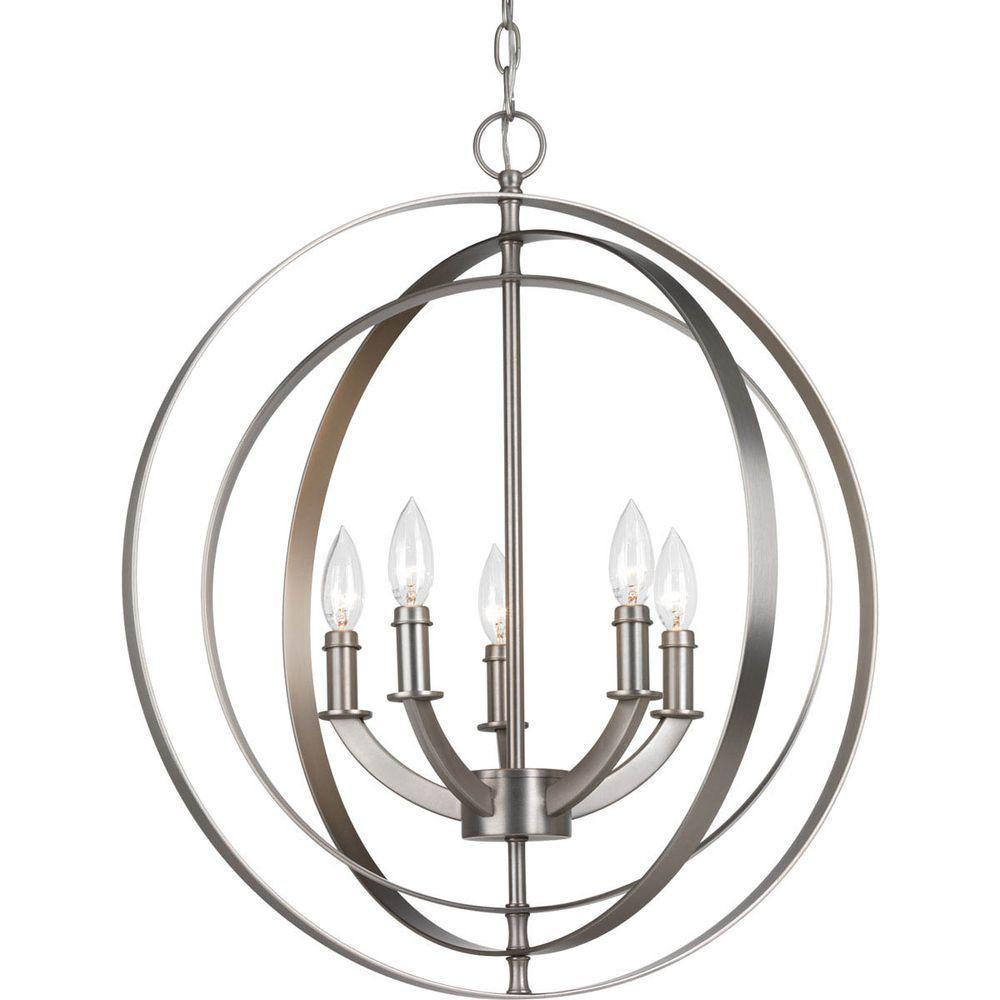 progress lighting equinox collection 5 light burnished silver orb