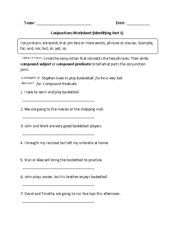 Identifying Conjunctions Worksheet conjunctions – Conjunctions Worksheet 5th Grade