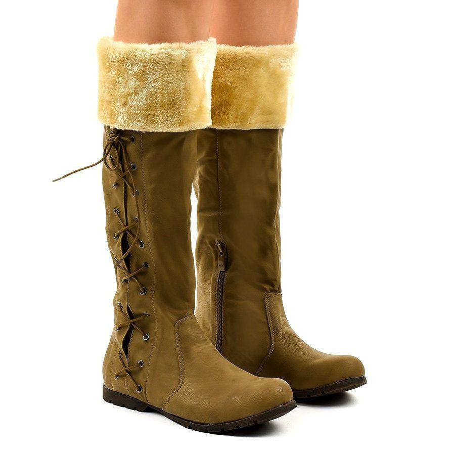 Brazowe Ocieplane Kozaki Plaskie Af1151 Boots Winter Boot Shoes