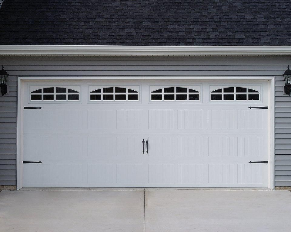 C h i 5283 white short panel carriage house with cascade for Two car garage doors