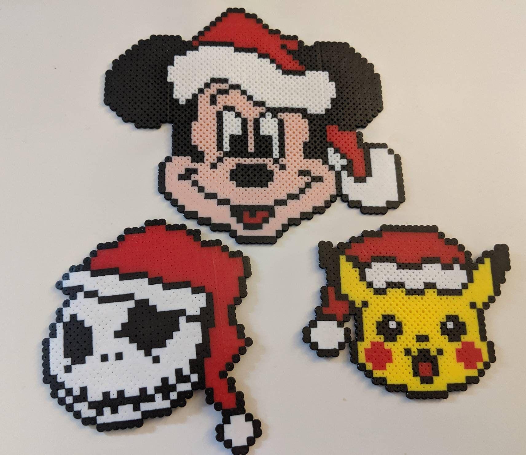 Christmas Decorations Santa Hats Mickey Mouse Pikachu Jack Etsy In 2021 Christmas Perler Beads Perler Bead Disney Perler Bead Art