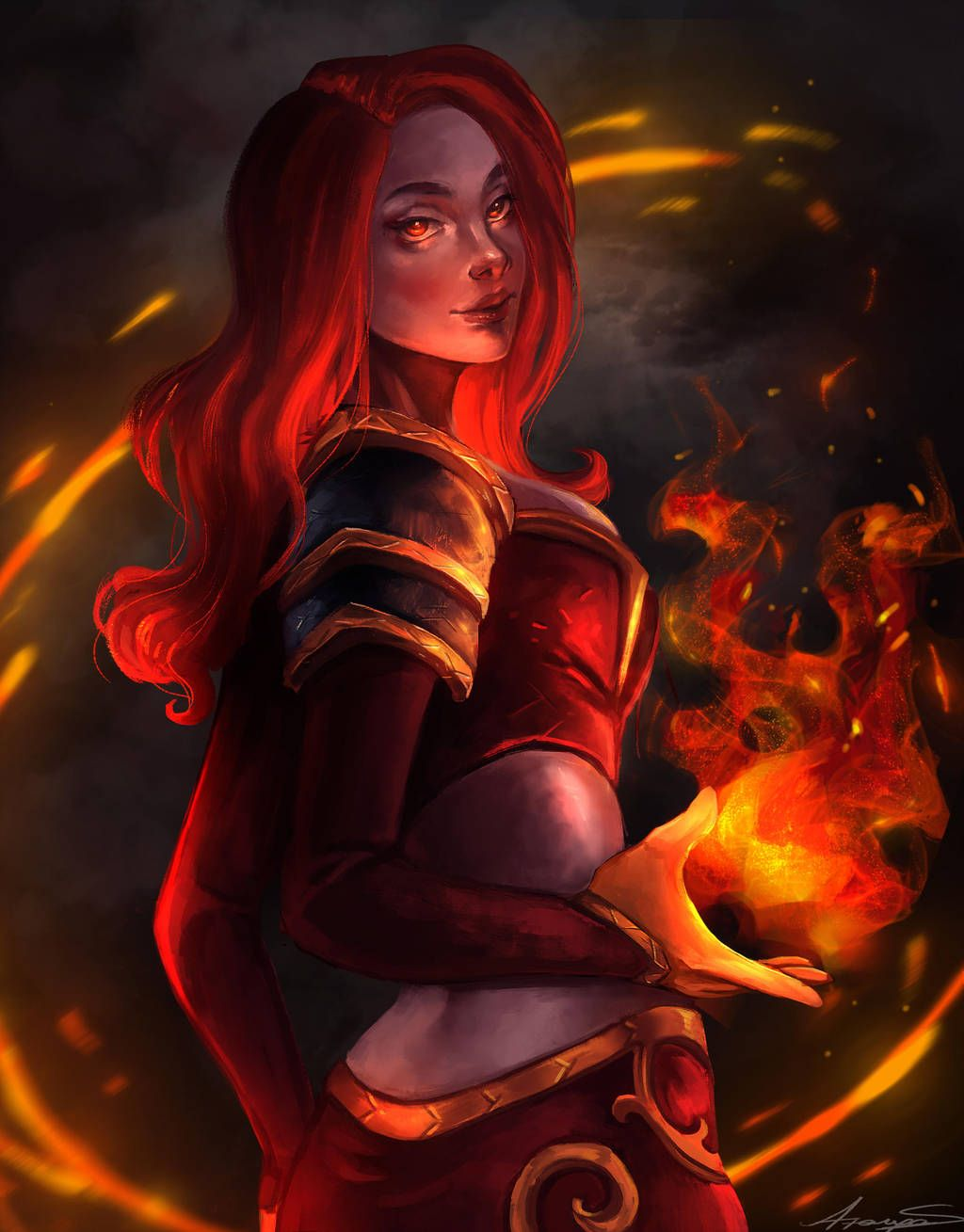 Fire Mage by AzaryaS Art, Mage, Fantasy portraits