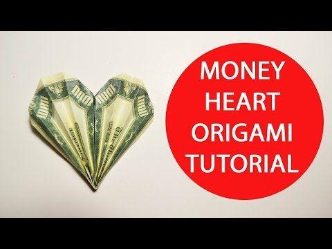 money heart origami 1 dollar folded tutorial diy craft no glue