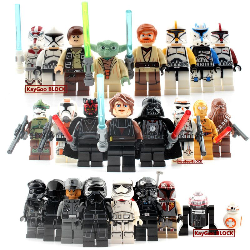 24 unids/set BB8 starwars Darth Vader de Star wars Yoda Obi-Wan 7 ...