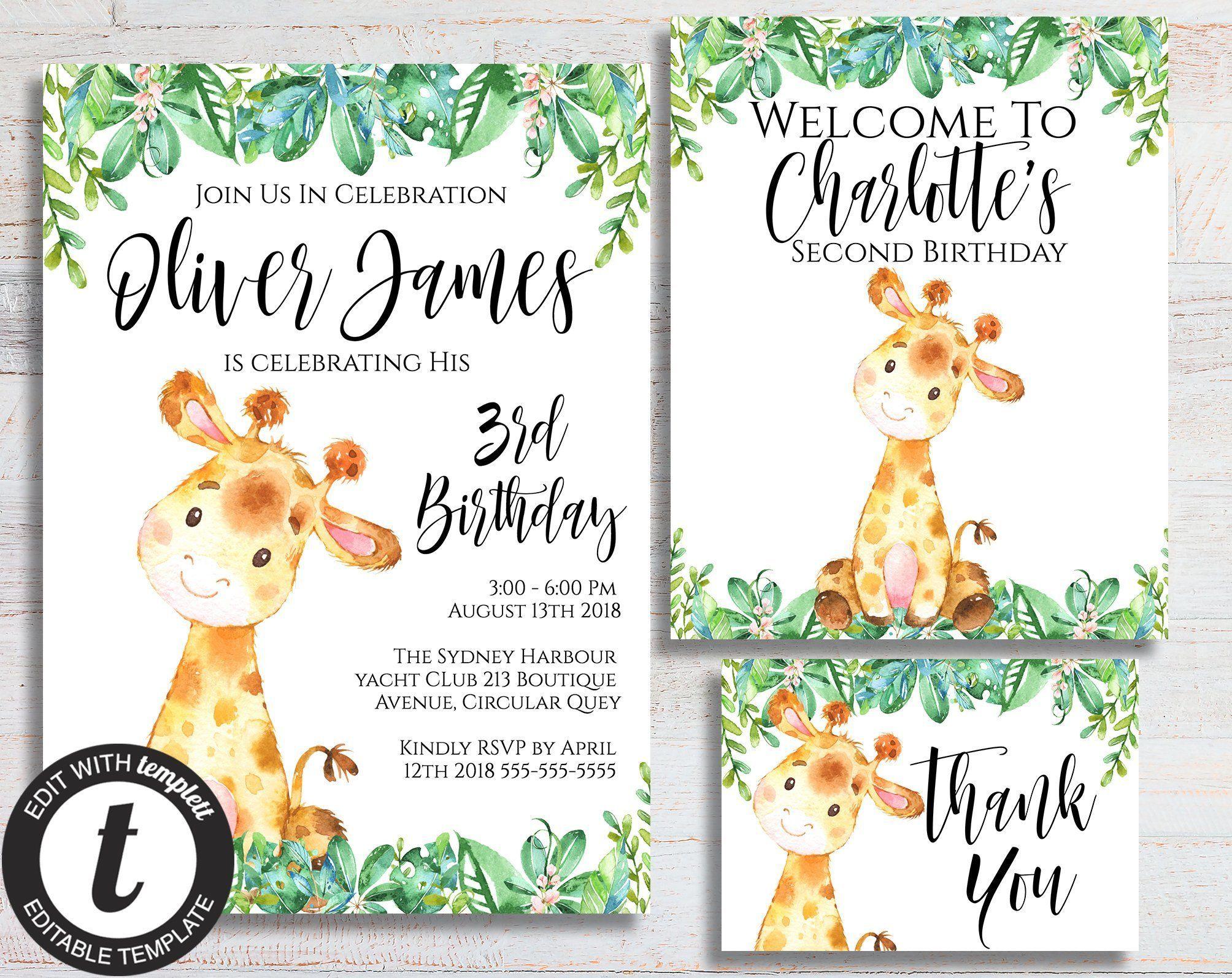 Giraffe Invitation, Zoo Birthday Party, Safari Birthday Invite