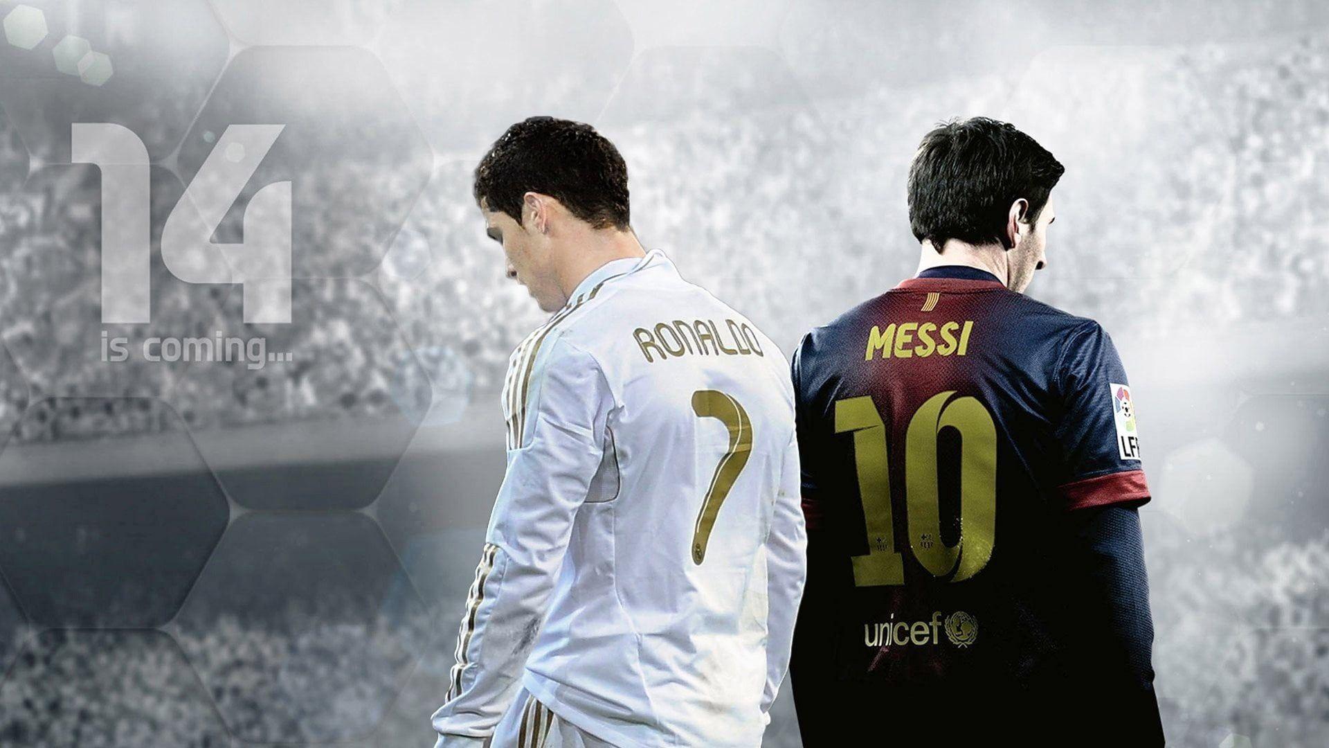 Video Game Fifa 14 Cristiano Ronaldo Lionel Messi 1080p Wallpaper Hdwallpaper Desktop Messi Vs Ronaldo Lionel Messi Ronaldo