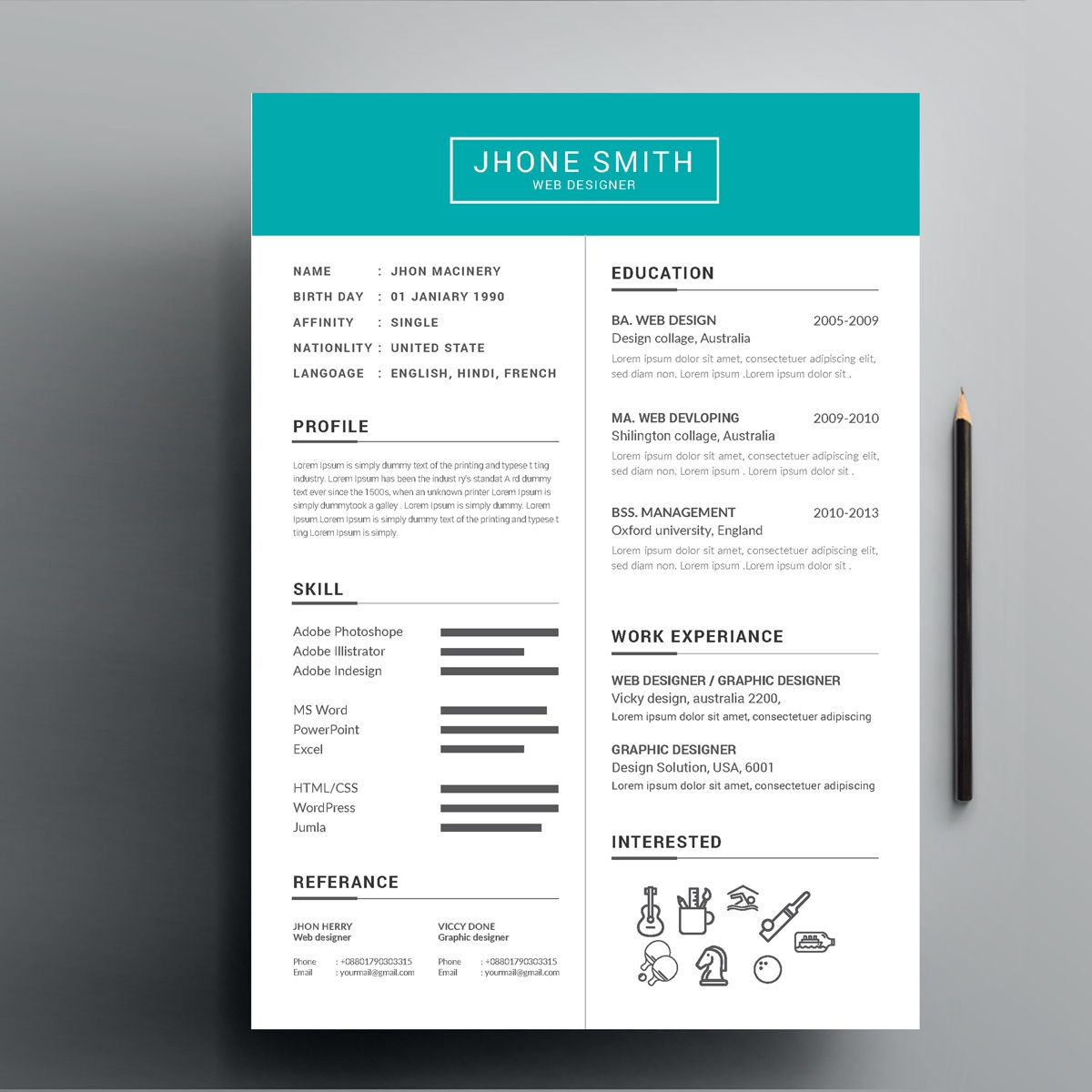 Bright Header Web Designer Resume Template 81137 Web Designer