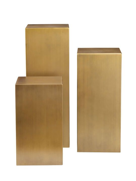 Fantastic Brass Cube Pedestal Table Set Accent Tables Pedestal Download Free Architecture Designs Remcamadebymaigaardcom