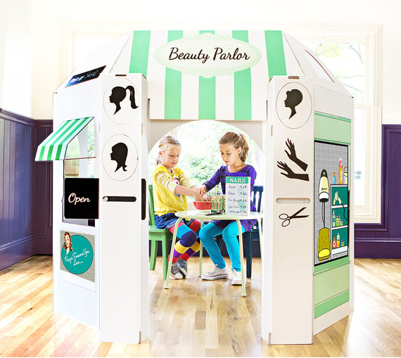 Beauty Shop Cardboard Playhouse for Kids
