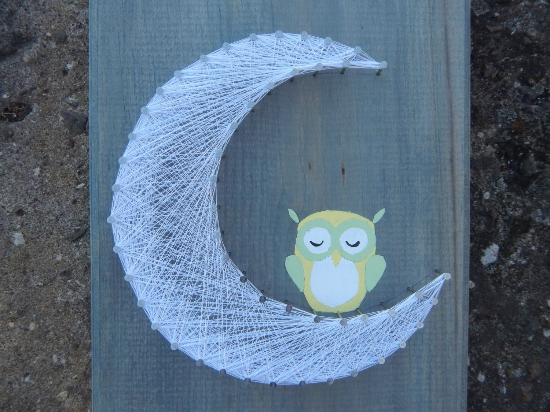 Sleeping Owl on Moon Nursery String Art