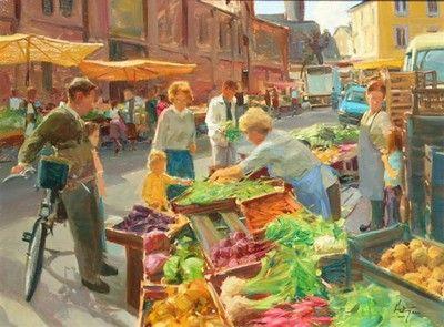 """Summer Market in Provence"" by David Hettinger  http://weatherburn.com/artists/artdetail.cfm?artid=104#"
