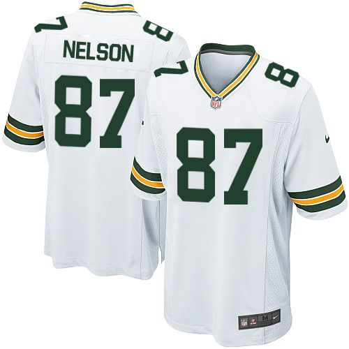 Wholesale Men\'s Game Jordy Nelson Nike Jersey White Road #87 NFL Green Bay  free shipping