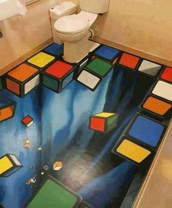 Amazing 3d Art Rubik S Cube Bathroom Floor Art 3d Floor Art