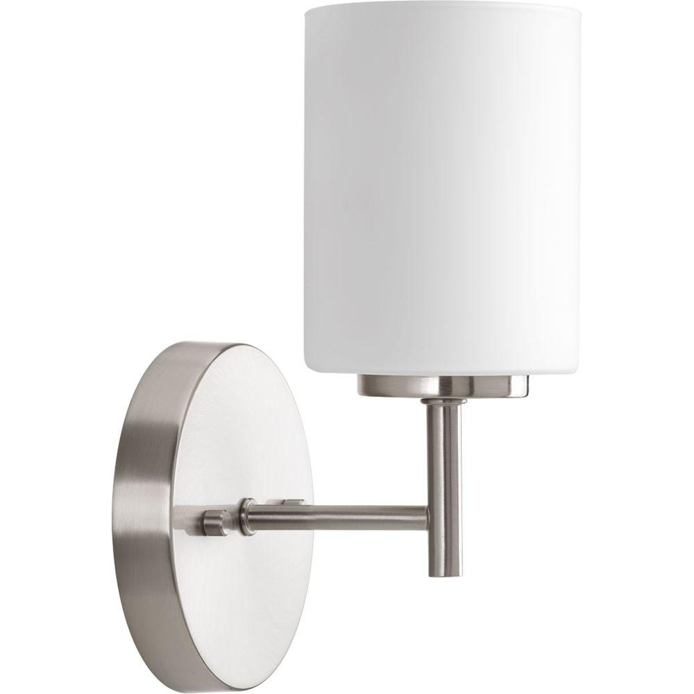 Progress Lighting Replay 5 1 In 1 Light Brushed Nickel Bath Sconce With Etched Opal Glass Shade P2131 09 Indoor Wall Sconces Progress Lighting Bathroom Wall Sconces