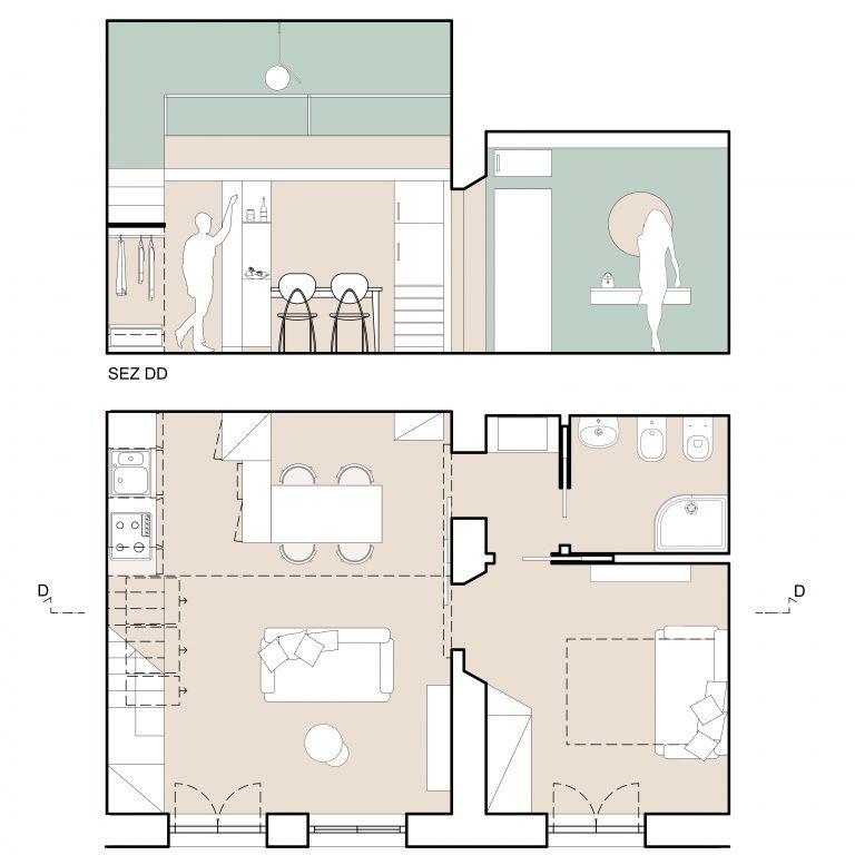 Progetto bilocale mf architetti drawing nel 2019 for Progetti architettura interni