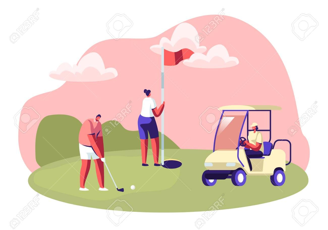 Golf Tournament Young People Playing Sport Game On Course With Green Grass Flagstick Hole Cart And Professional E Sports Games Golf Tournament Young People