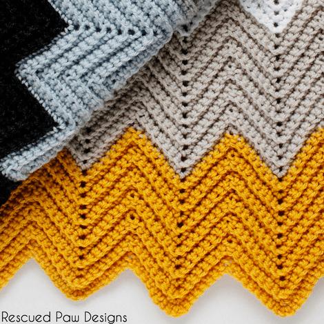 Free Pattern Crochet Chevron Blanket Easy Fast Pattern