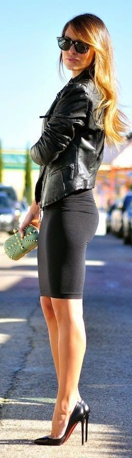 Street style | black leather jacket, pencil skirt, Louboutins