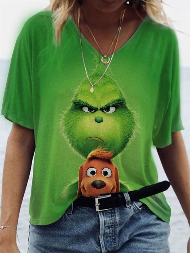 Women's Animals Printed Short-Sleeve V-Neck T-Shir